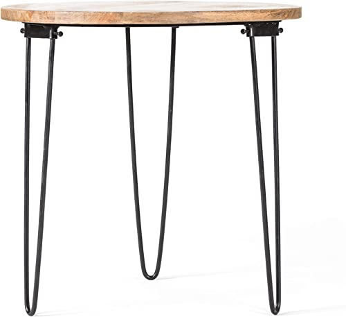 Madeleine Home Bogart Black, Natural Wood Folding Side Table