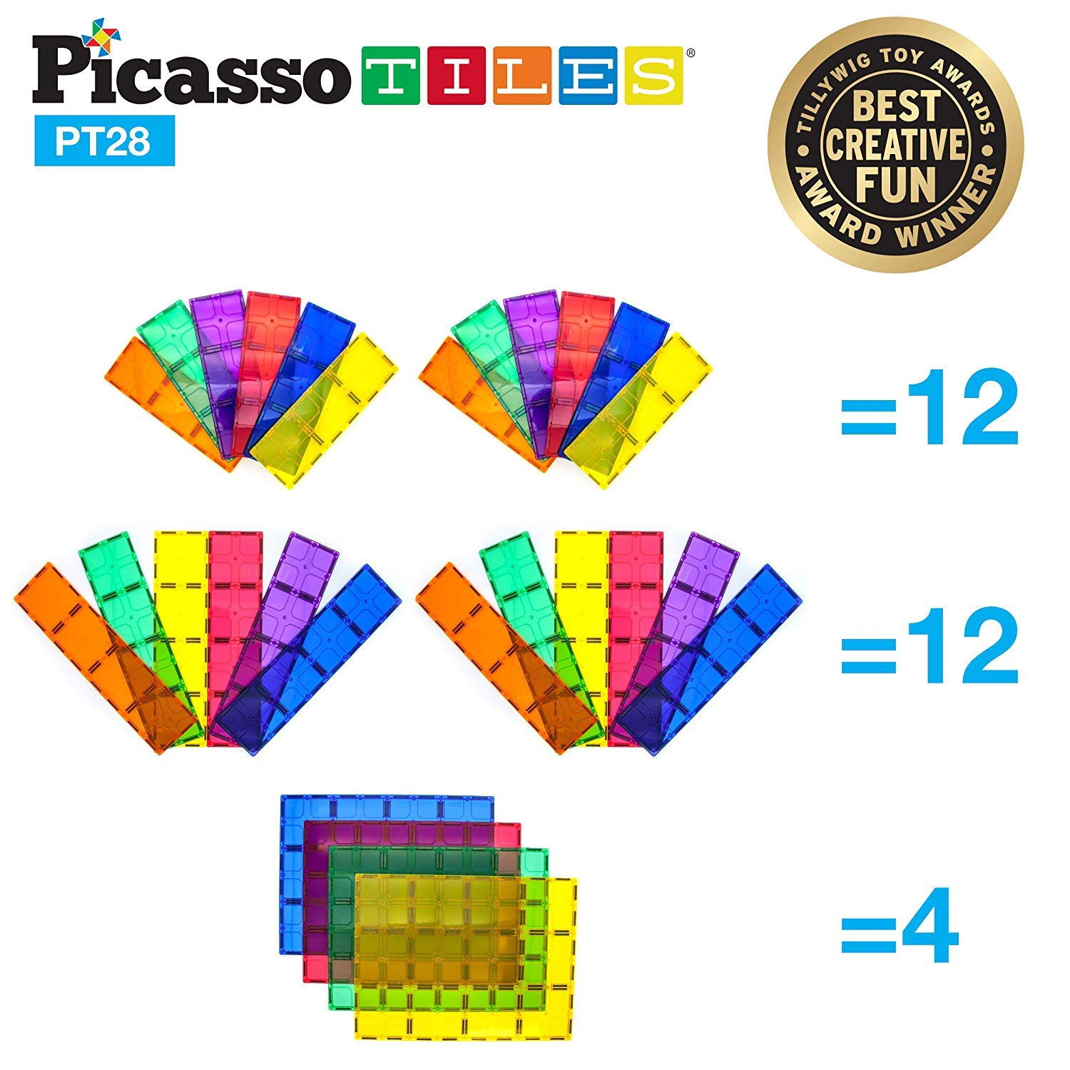 PicassoTiles 28 Piece 12''x9'', 12''x3'', 9''x3'' Large Stabilizer Building Block Base 28pc Jumbo XL Plate Foundation Kit Magnetic Building Blocks Magnet Tiles Educational Construction Stacking STEM Toy Set by PicassoTiles