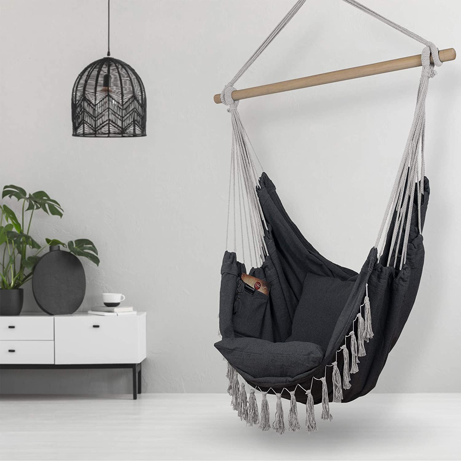 Komorebi Hammock Chair | Hanging Rope Swing Seat for Indoor & Outdoor | Soft & Durable Cotton Canvas | 2 Cushions Included | Large Reading Chair with Pocket for Bedroom, Patio, Porch (Grey)