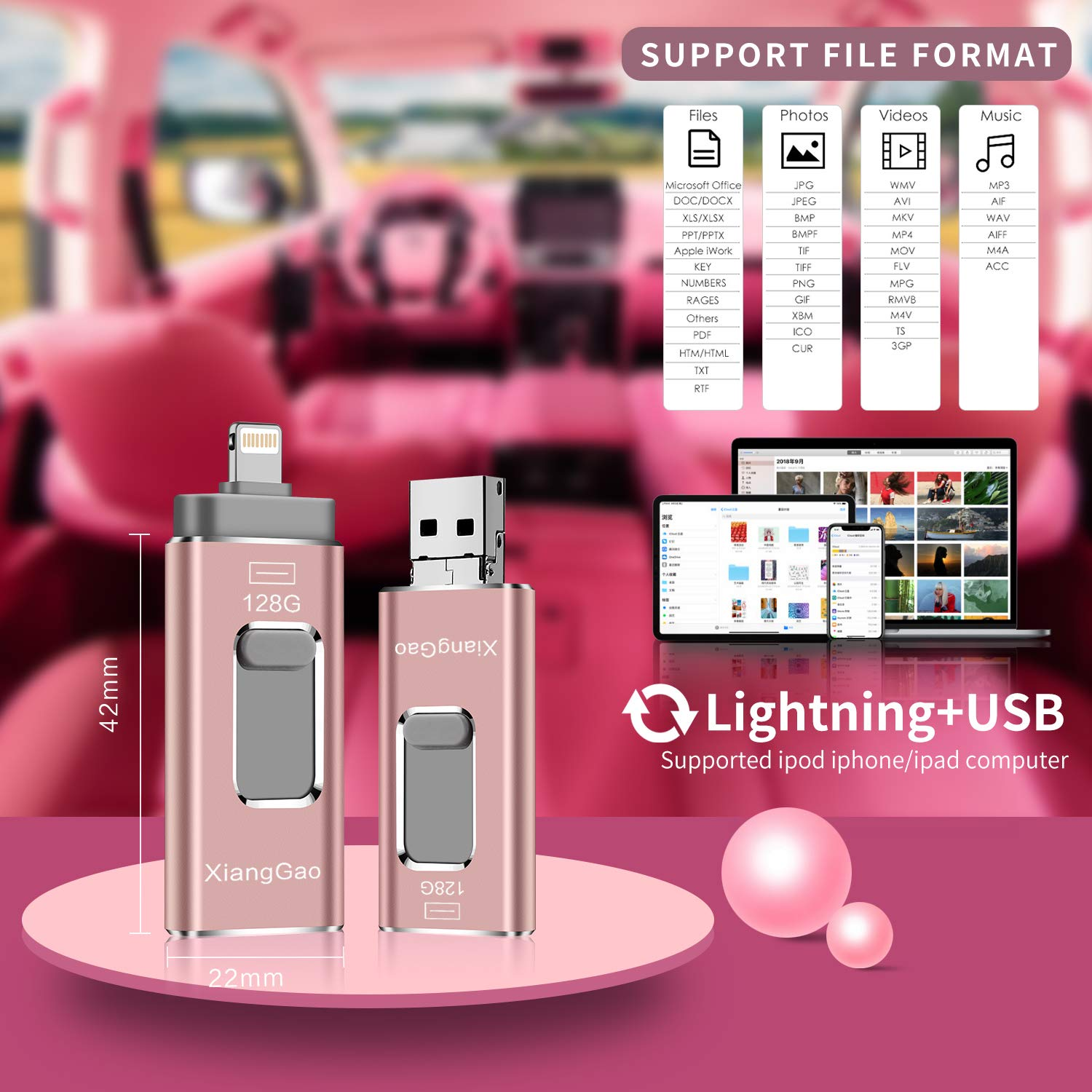 iOS Flash Drive for iPhone Photo Stick 128GB Memory Stick XiangGao USB 3.0 Flash Drive Lightning Memory Stick for iPhone iPad Android and Computers (Pink-128GB) by XG Inc (Image #3)