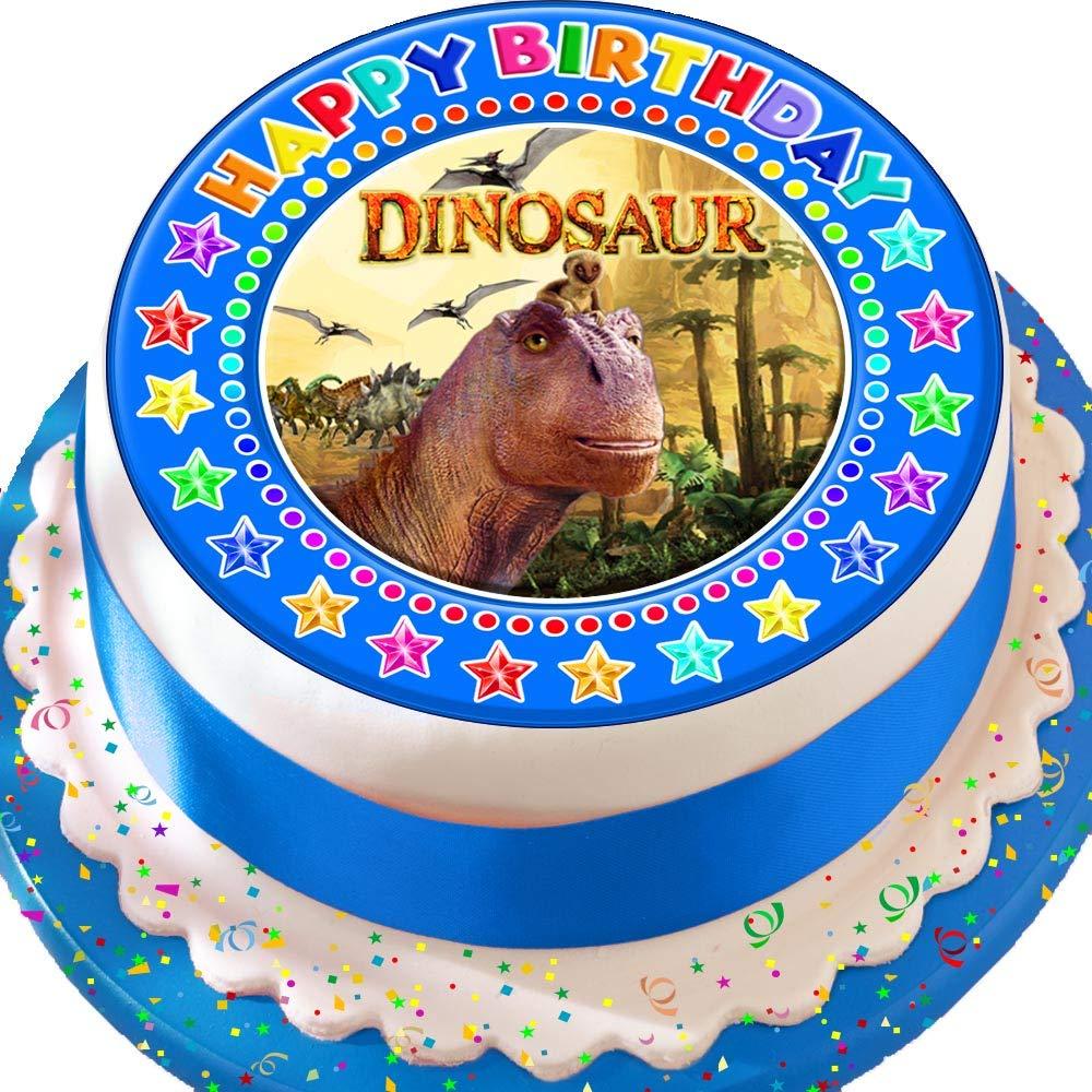 Dinosaurier blau Happy Birthday vorgeschnittenen Essbarer Zuckerguss Kuchen Topper Dekoration Cannellio Cakes