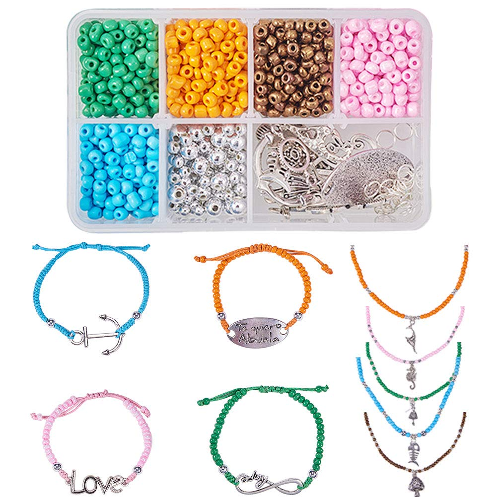 SUNNYCLUE 1 Set Waxed Cotton Thread Cord 4mm Seed Beaded Jewelry Making Kit for Beginners DIY 5 Strands 18 ~ 24 Bohemian Seed Bead Necklace and 5 Strands Adjustable Beaded Bracelet