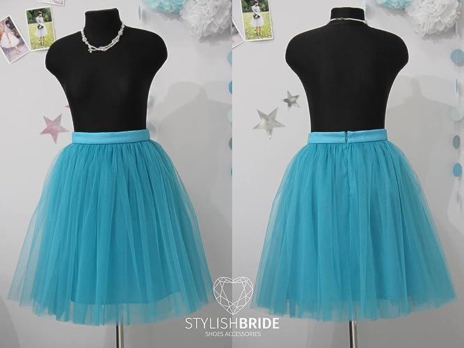 363572e41b Amazon.com: Teal Blue #10 Tulle Skirt Knee length, Blue tulle skirt for  party, Party Bright color tulle skirt: Handmade