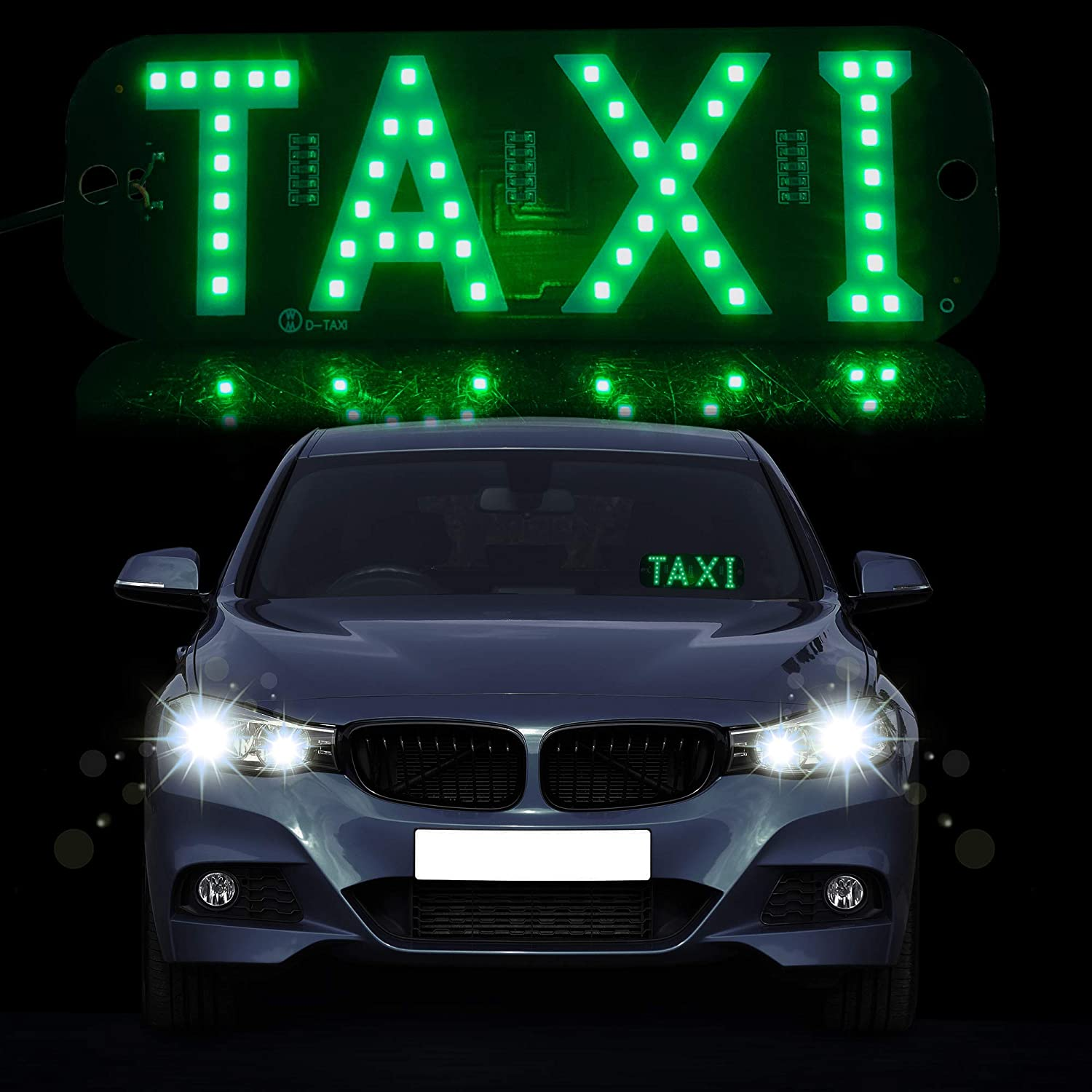 Welugnal Green LED Uber Sign Glow Uber Decor Accessories Removable Ride Share Decal