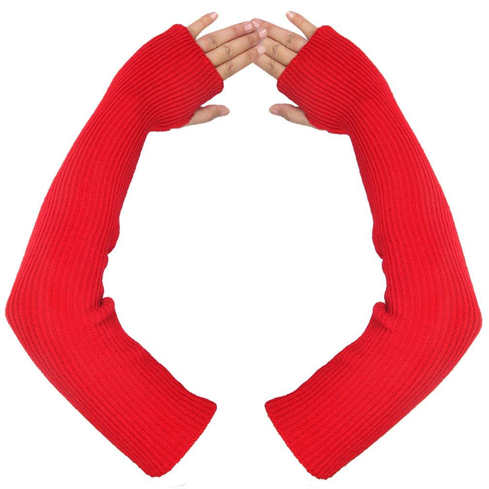 Women's Winter Arm Length Warmer Long Fingerless Mitten Gloves (red)