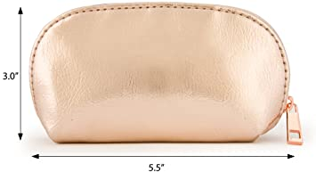 0589d9366942 Amazon.com   Small Rose Gold Metallic Pouch Bag For Cosmetics ...