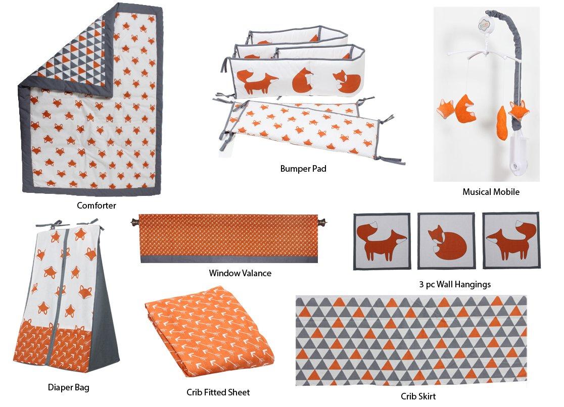 Bacati Playful Foxs 10 Piece Crib Set Including Bumper Pad, Orange/Grey