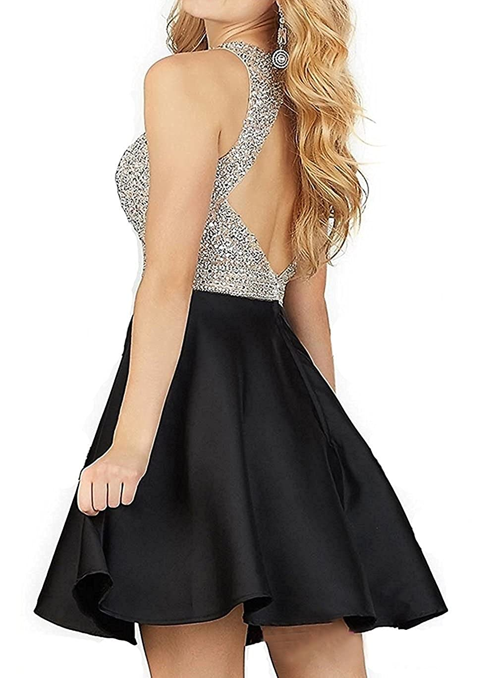 Steady Black 2017 Elegant Cocktail Dresses Sheath Cap Sleeves Short Mini Crystals Open Back Homecoming Dresses Weddings & Events