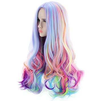 AGPtEK Full Long Curly Wavy Rainbow Hair Wig, Heat Resistant Wig for Music Festival,