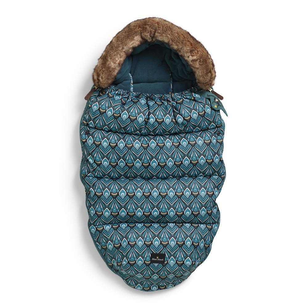 Elodie Details Luxury Fleece Lined Stroller Bag/Footmuff/Cosytoes with Removable Fur Trim Hood - Everest Feathers