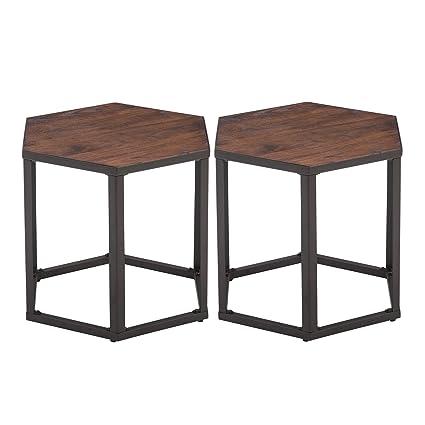 Amazoncom Set Of End Tables Hexagon Modern Leisure Wood Coffee - Hexagon wood coffee table