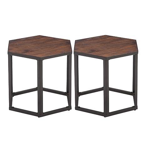 Amazon.com: Mesa de centro hexagonal moderno mesa de madera ...