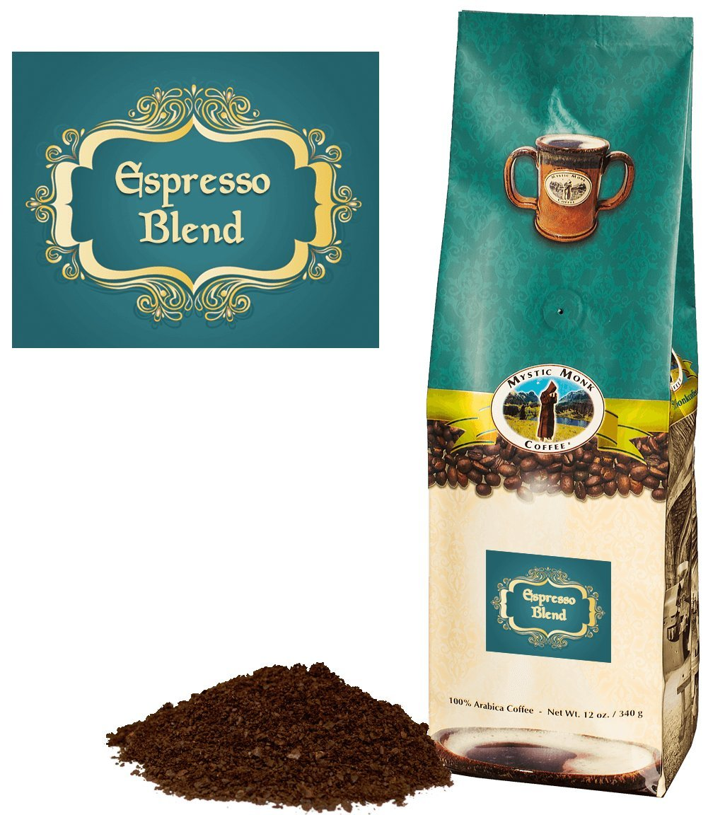 Mystic Monk Coffee: Espresso Blend | Fine Grind Dark Roast Coffee (Espresso Ground Coffee 100% Arabica) - 12oz