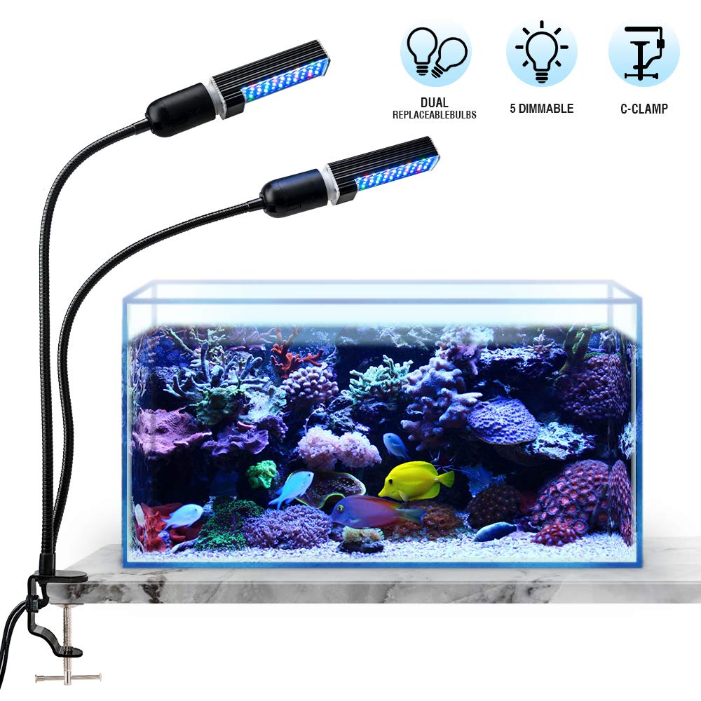 Bozily Aquarium Light for Coral Reef Aquatic Plants Growth Saltwater Freshwater, LED Desktop Fish Tank Light with 4 Dimmable Levels, Replaceable Bulbs and Strong Clamp by Bozily