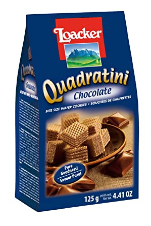 loacker Quadratini Chocolate - Bite Size Wafer Cookies -125Gms - 100% Veg Wafers Biscuits at amazon