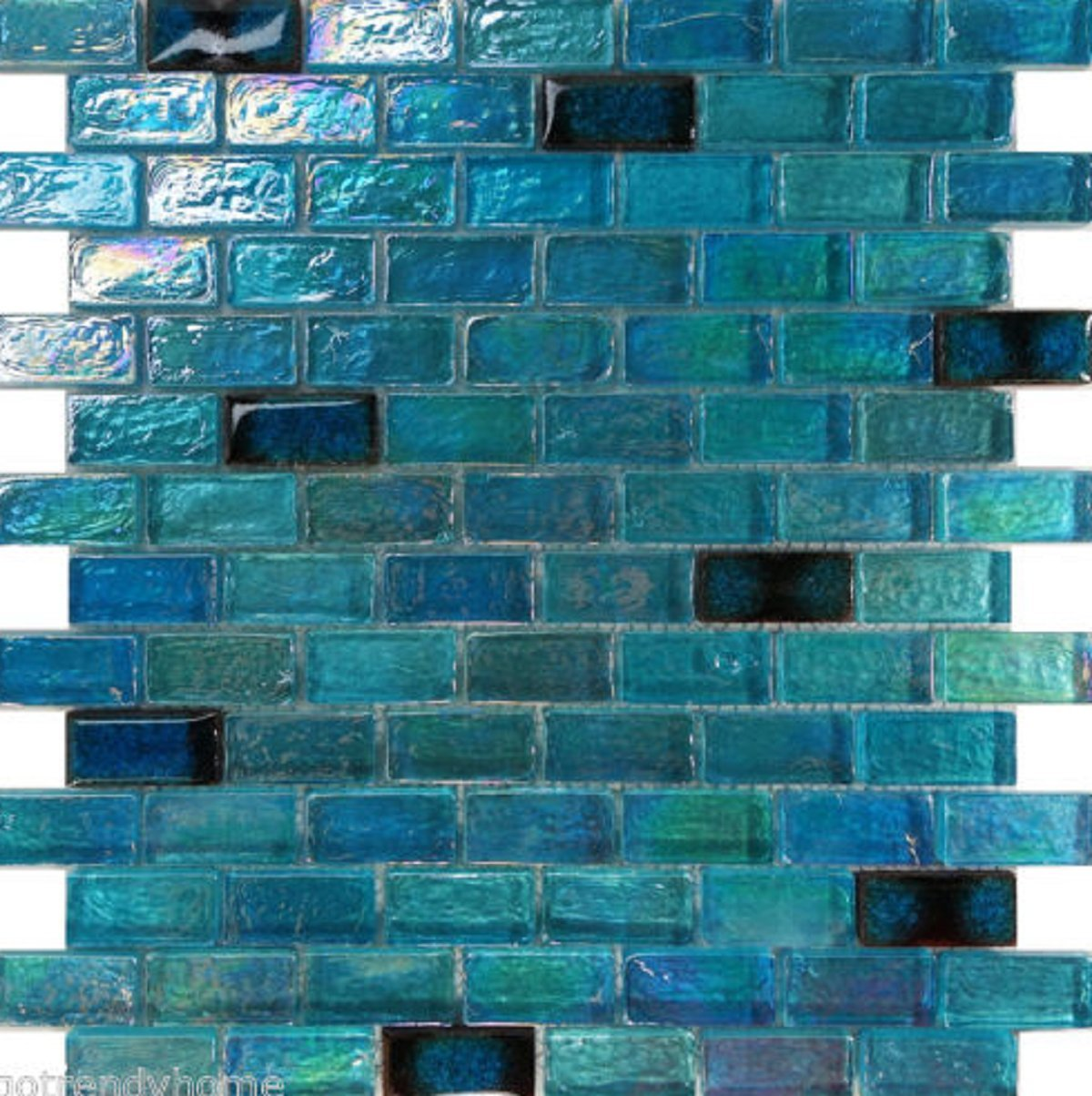 USA Premium Store 10SF Blue Iridescent Glass Mosaic Tile Kitchen Backsplash Faucet Pool Floor Sink by USA Premium Store