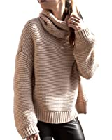 PINKSEE Women's Casual Long Sleeve Turtleneck Beige Knit Pullover Sweater