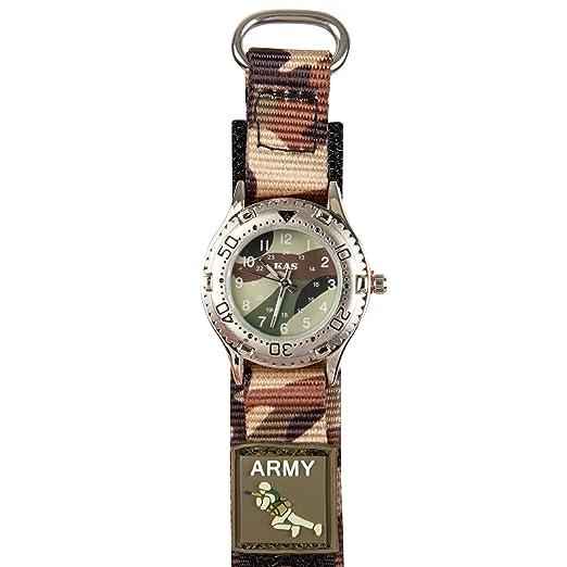 Niños Ejército tienda Kas reloj de pulsera de camuflaje - Militar Camuflaje impresión: Amazon.es: Relojes