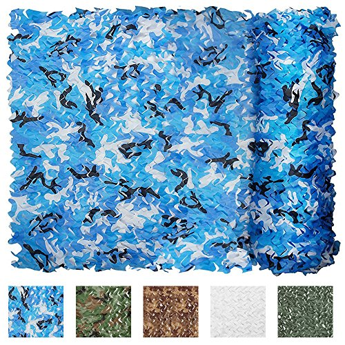 Camouflage Blue Camo (IUNIO Camouflage Netting, 32.8ft x 5ft/10m x 1.5m Custom Ocean Camo Net Great For Sunshade Camping Shooting Hunting etc.)
