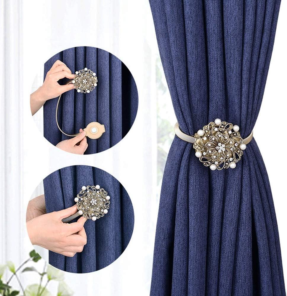 Abrazaderas Cortinas 1 par de estilo retro hecho por hombres clips de cortina de flores de perlas retenciones retenciones para el hogar y la oficina decoración (Color : Bronze, Size : 25cm)