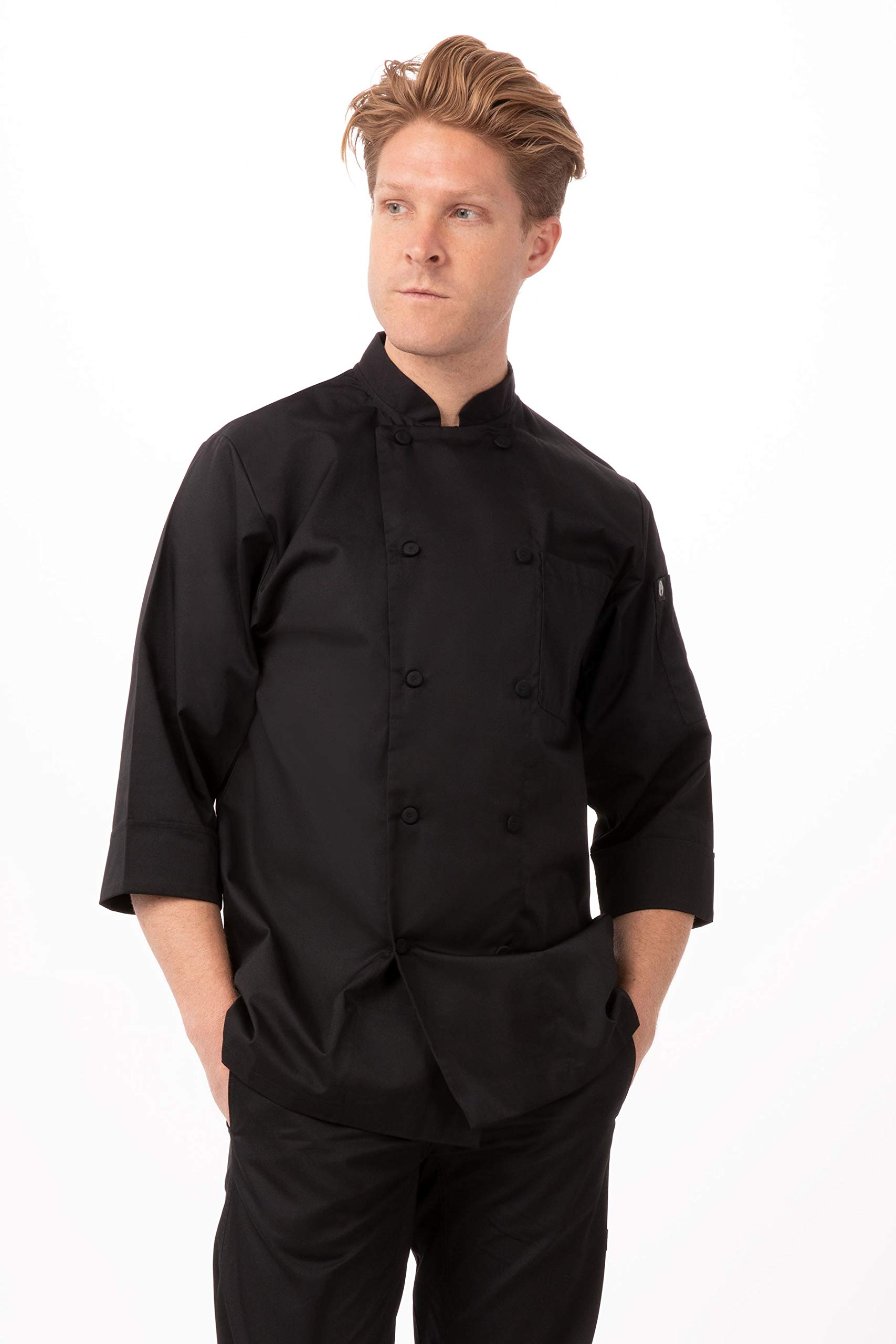 Chef Works Men's Morocco Chef Coat, Black, Medium by Chef Works