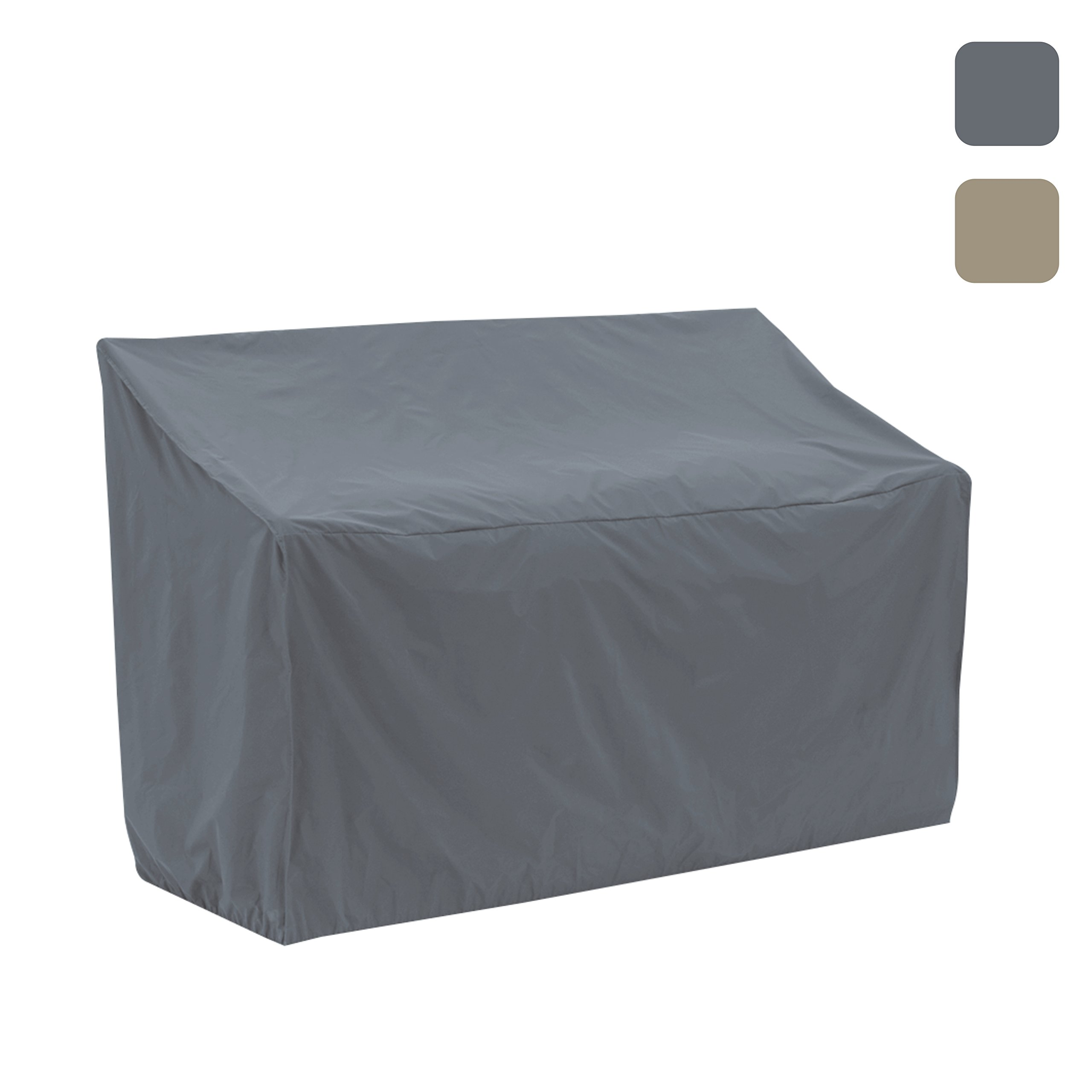 Patio Bench Cover Waterproof, Air Vents, 100% UV-Resistant, 1000 D Both Side PVC Coated, Outdoor Furniture Bench Covers with Drawstring for Snug fit to Withstand even in Winds & Storms,Grey