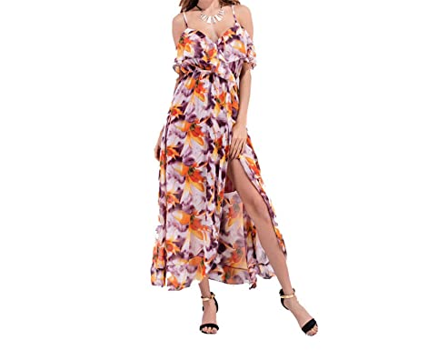 Amazon.com: Twilaisaac Fashion dress floral sexy v pescoço do vintage boemia sexy vestido de chiffon guaze dress plus size s-l mulheres praia dress: ...