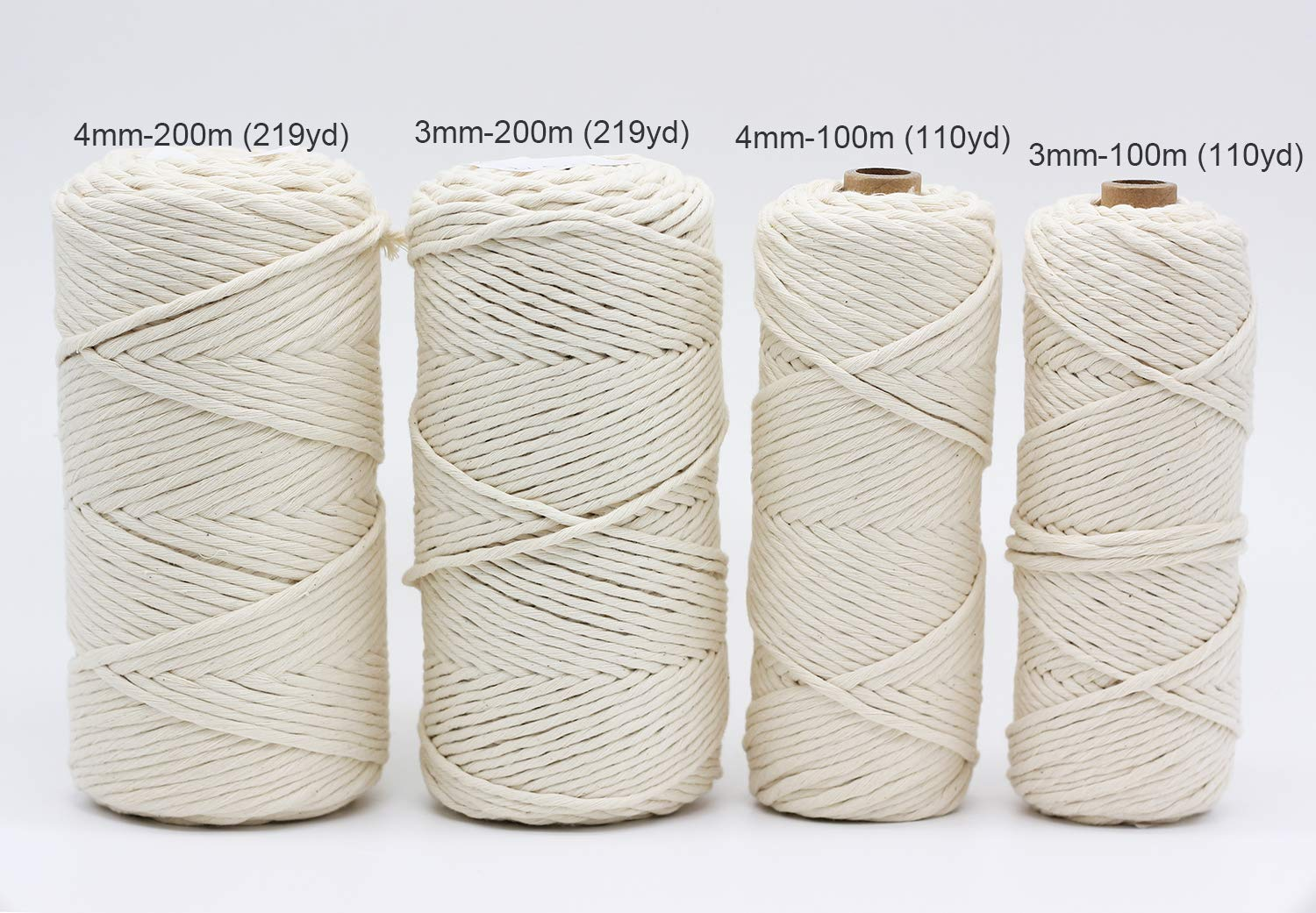 4mm 219Y Macrame Cord Rope -1/6inch Single Stand White Macrame Cotton String for Handemade Wall Hanging Weaving Basketry Crochet and Tapestry (4mm-200m (219yd)) by FLORAVOGUE (Image #6)