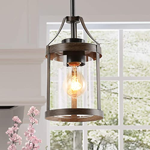 LNC Farmhouse Mini Faux Wood Pendant Lighting with Clear Cylinder Glass Shade for Kitchen Island, Bedroom, Foyer and Entryway