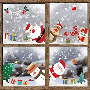 Free Yoka Christmas Window Clings Decorations Window Stickers Welcome Santa Snowflake Decals Reusable Winter Colorful Holiday Decor for Xmas