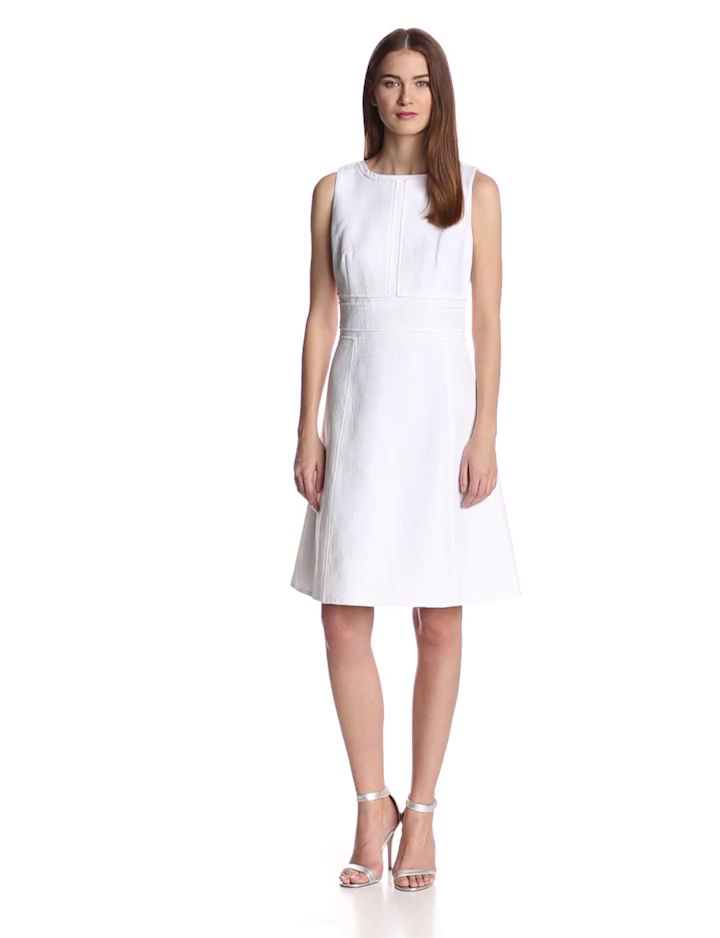 Calvin Klein Women's Textured Dress, Ivory, 2