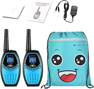 ONFAON Walkies Talkies for Kids,22 Channels Long Range Rechargeable Walky Talky with Automatic Battery Save,Range Up to 3 Miles for Camping,Hiking,Fishing,Outdoor Activities (Blue)