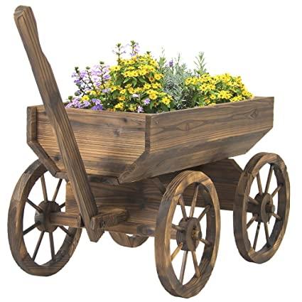Vintage Garden Wood Wagon Flower Planter Pot Stand With Wheels Home Outdoor  Decor