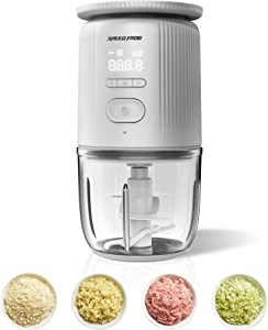 Baby Food Processor Electric Food Chopper with Scale USB Rechargeable Baby Food Maker 300ML 85W 4 Removable Blade Garlic Chopper for Meat Vegetables Fruits and Spices