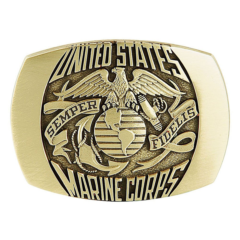 Marine Corps Belt Buckle Solid Brass Made in U.S.A. by Indiana Metal Craft