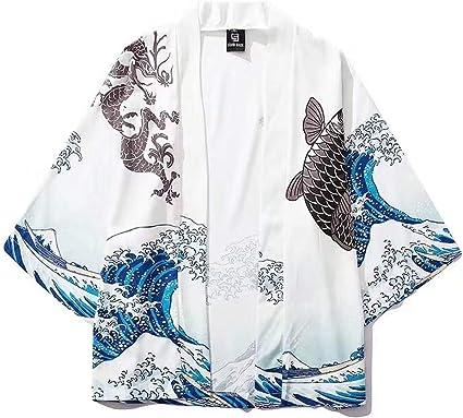 Kimono Yukata para hombre, estampado japonés de carpa ...