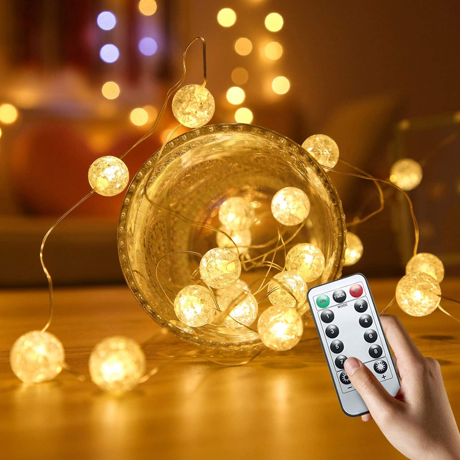 Christmas Lights Outdoor Globe String Lights For Bedroom Hutools Crystal Crackle Ball Lights 10ft 30 Led Warm White Battery Operated Fairy Hanging Lights Perfect For Indoor Seasonal Lighting Surclima Home Kitchen