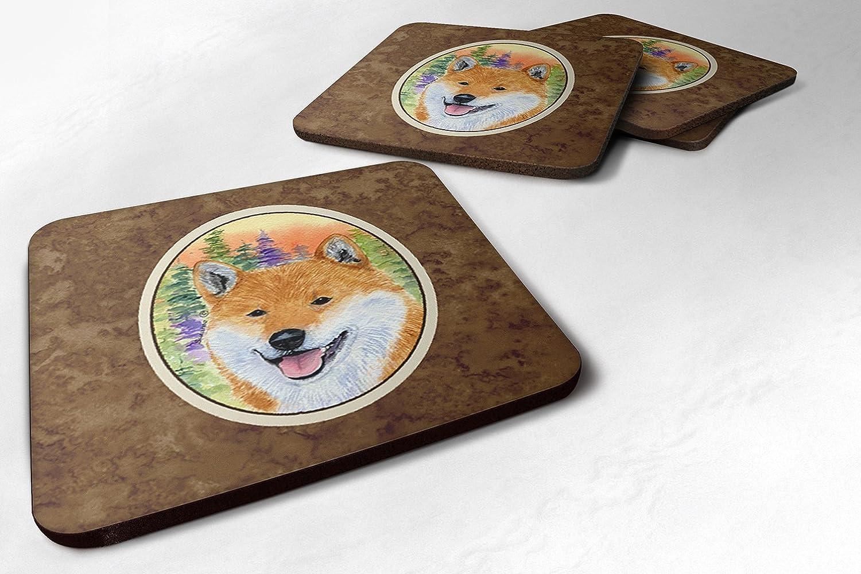 Caroline's Treasures SS8234FC Shiba Inu Foam Coasters (Set of 4), 3.5' H x 3.5' W, Multicolor