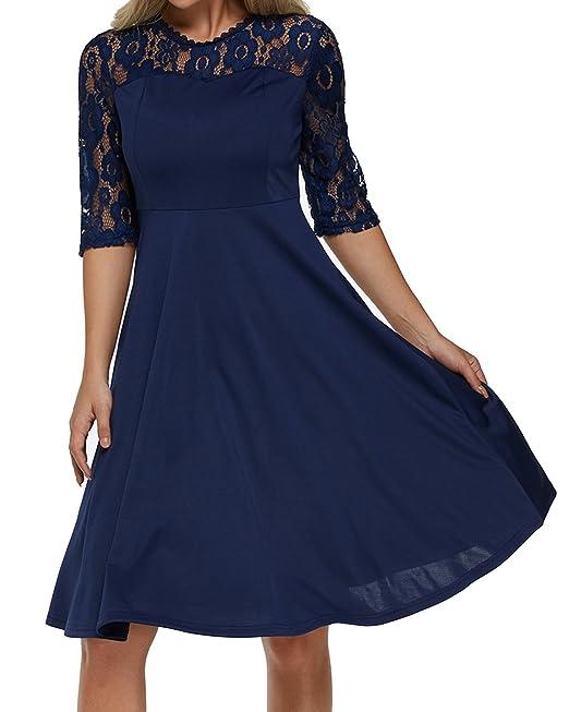 Auxo Mujer Vestidos Cortos De Encaje con Mangas Cortas Espalda Transparente Dress para Fiesta Azul Marino