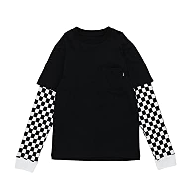 115c2cbbcf8 Vans Long Sleeve T-Shirt - Checker Sleeve Two Fer Black White Size ...
