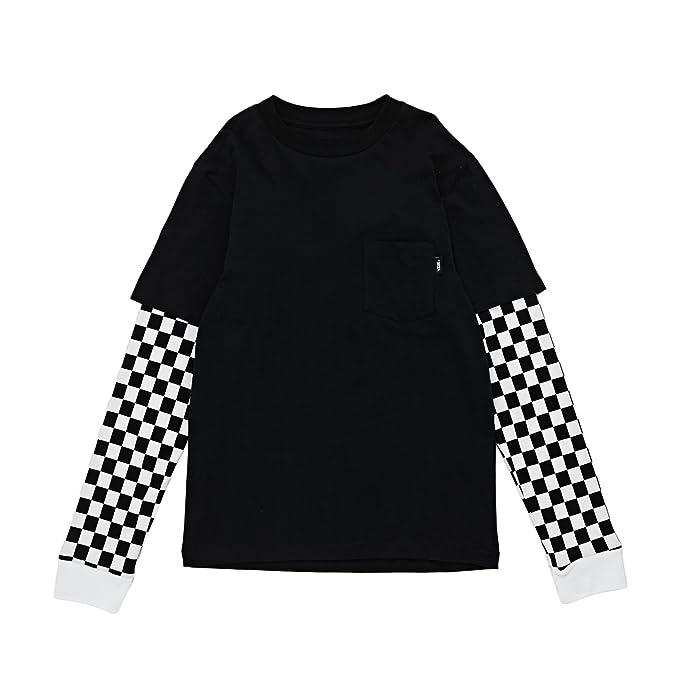 b9c2237e748407 Vans Checker Sleeve Two Fer Long Sleeve T-Shirt Small (Jnr) Black Checker