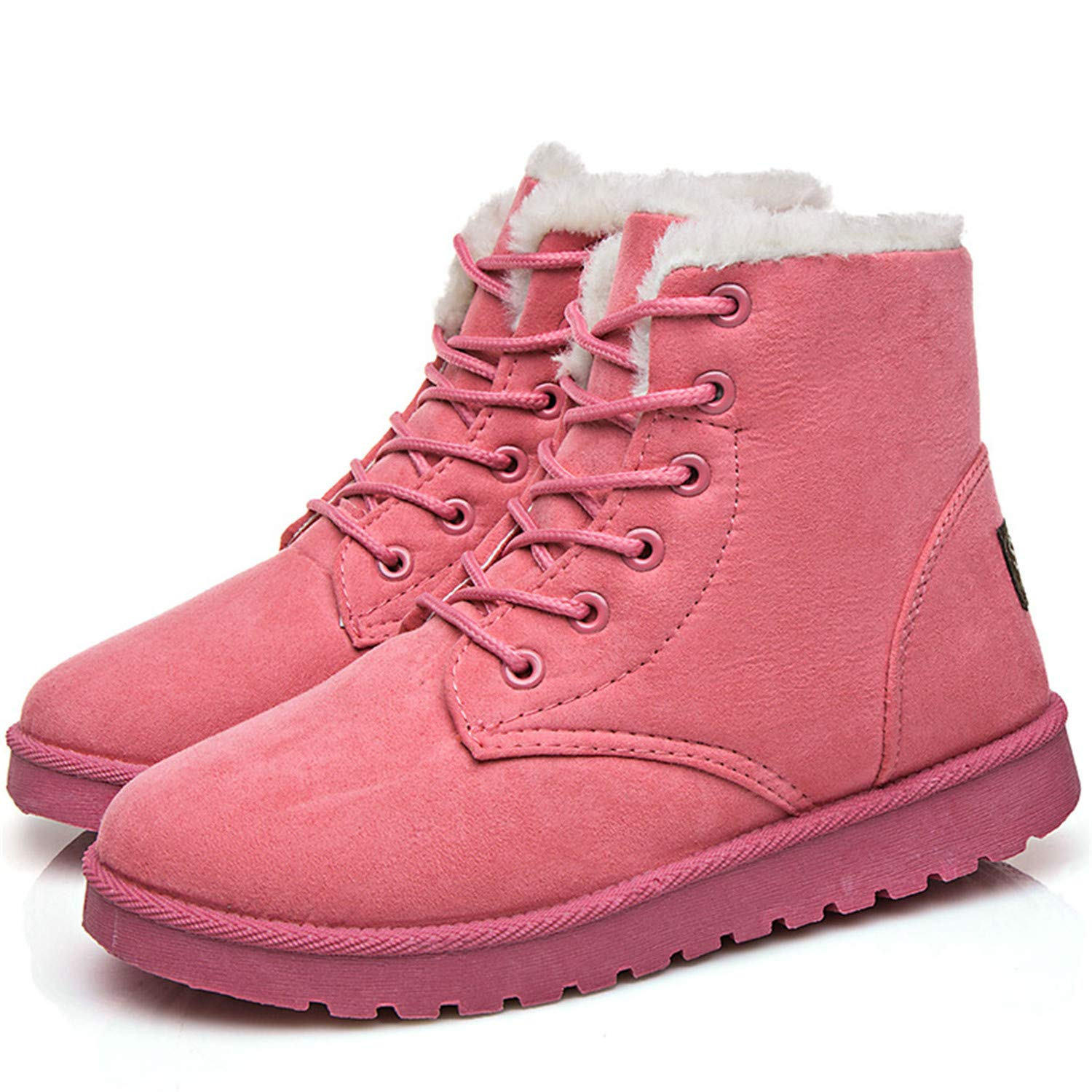 Amazon.com | Ankle Boots for Women Female Fur Lace Up Fenty Platform Snow Boots Suede Plush Sewing Botas | Boots
