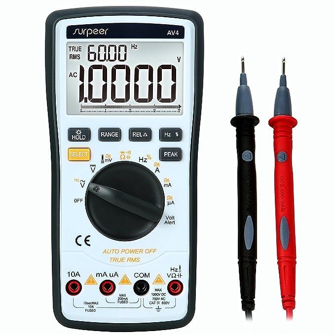 Multimetre Professionnel, SURPEER True RMS 4 1/2 Multimetre Numerique de Portée Automatique - Testeur de Voltage AC/ DC Courant Ohmmètre Résistance Diodes Continuité Sonde de Température Pil