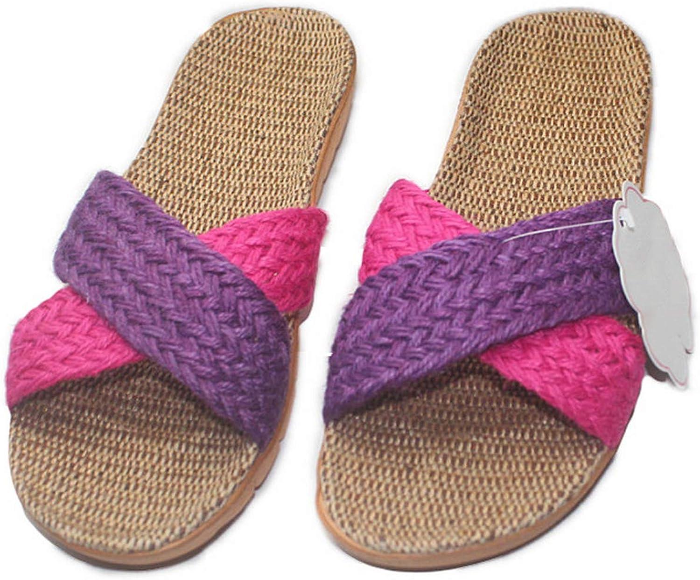 CHSK-cn Linen Slippers Unisex Soft Bottom Non-Slip Leisure Home Slippers Indoor Shoes Men Women Beach Flat Slippers,As Show,6.5
