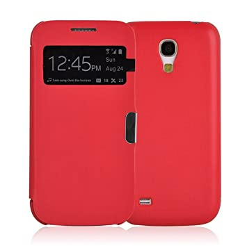 new style 13f0f 2640a Galaxy S4 Mini Case - Red Smart View Flip Cover for Samsung Galaxy S4 Mini,  Screen Protector Included