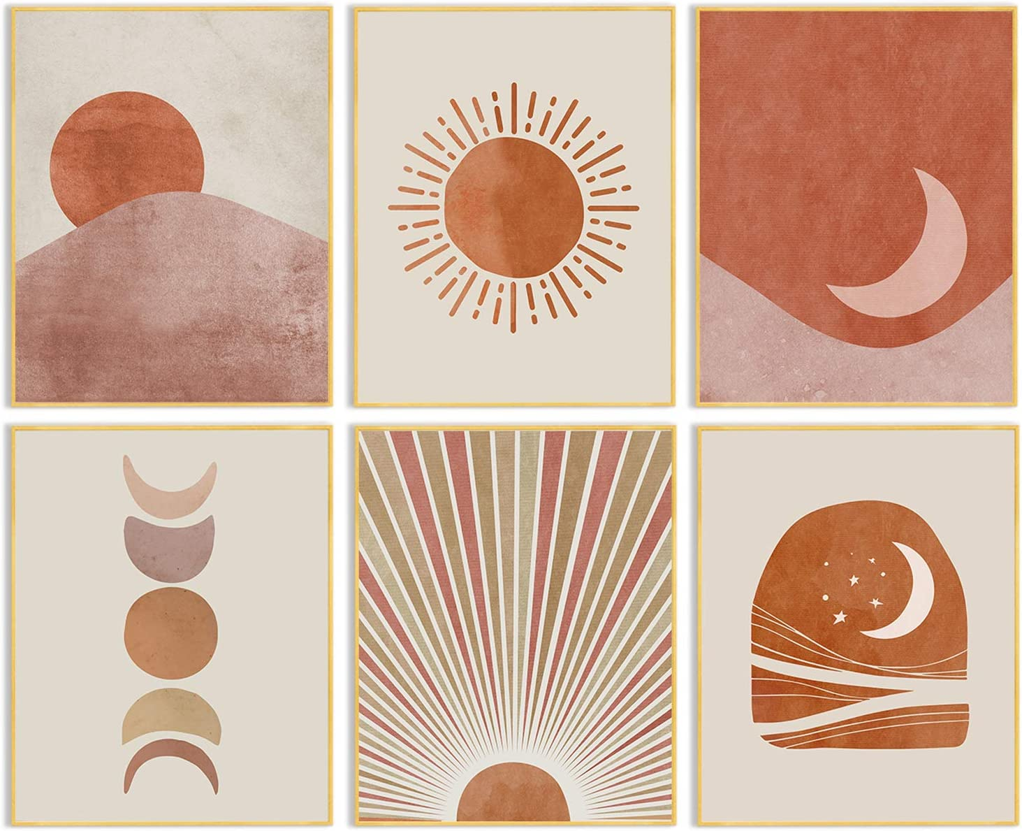 Boho Wall Decor Art Prints - Minimalist Mid Century Modern Abstract Line Artwork Bohemian Pictures Sun Moon Posters Canvas Painting Home Living Room Bedroom Bathroom Decorations 8x10inches Unframed