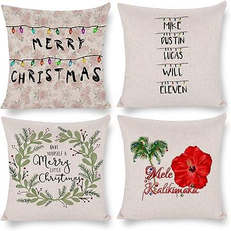 VinMea Decorative Christmas Pillow Covers Set of 4 - Stranger Things Christmas Stranger Things Xmas Series Cushion Cover Case Pillow Case, Square 20 X 20 Inches: Amazon.es: Hogar