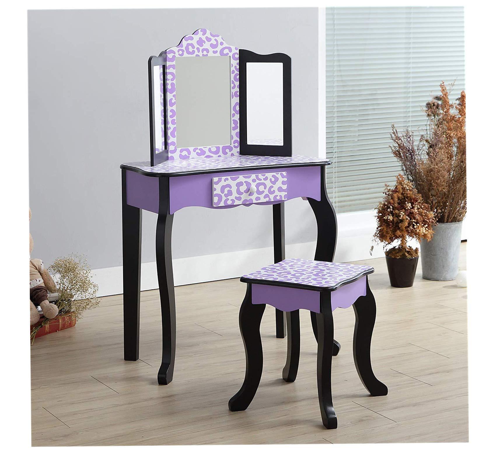 Wood & Style Home Vanity Table & Stool Set, Purple/Black Office Décor Studio Living Heavy Duty Commercial Bar Café Restaurant by Wood & Style