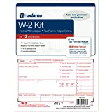Adams W-2 Tax Forms for 2017 - 6-part form sets for 12, W-3 transmittal form, 12 envelopes and access to Adams TFH Online (TXA12617) Made in the USA