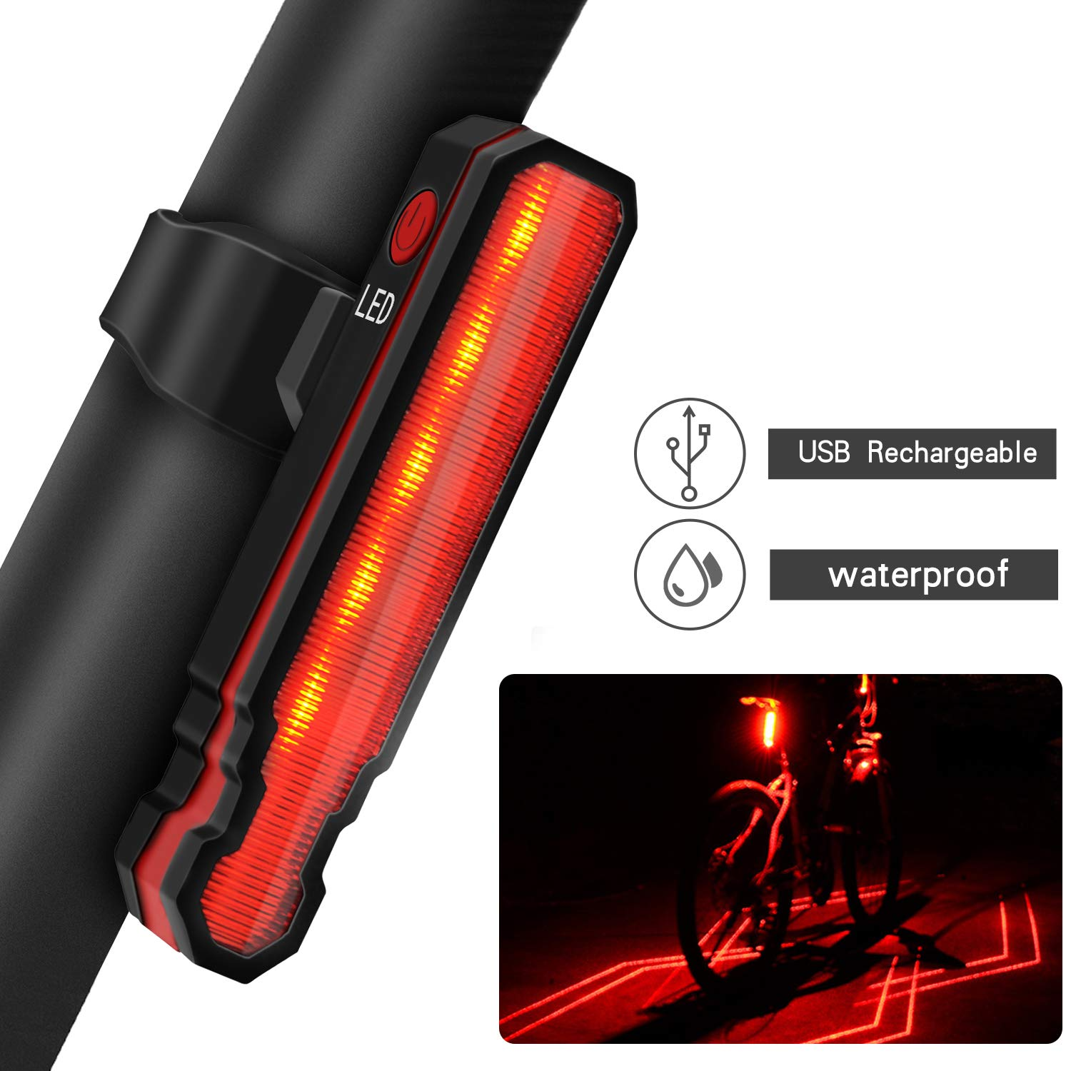 9e53616e3d6309 Amazon.com : Passionfun Bike Tail Light Rechargeable Bicycle Rear Light,  Red Bright High Intensity LED Bike Accessories for Cycling Safety  Flashlight ...